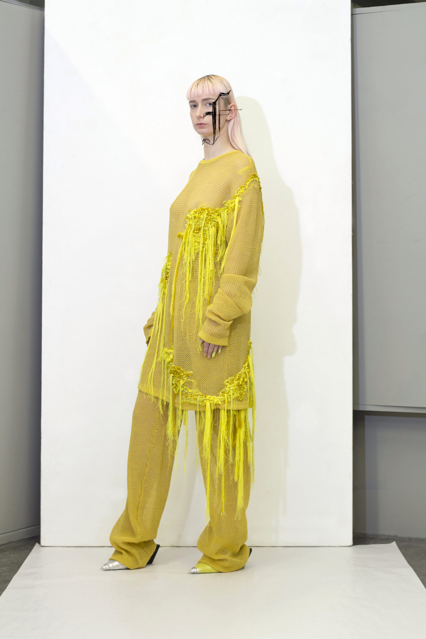 Yellow knit suit